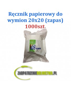 Ręczniki papierowe do wymion w wiadrze, 20 x 20 cm, 1000 szt. zapas